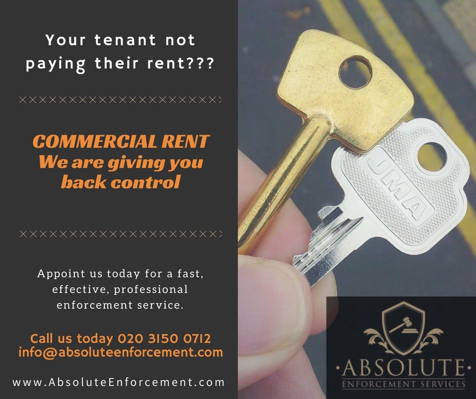 Commercial Rent not being paid - Call Absolute Enforcement today